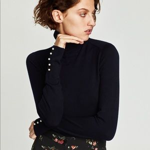 NWT ZARA • Navy Pearl Ribbed Knit Turtleneck Top